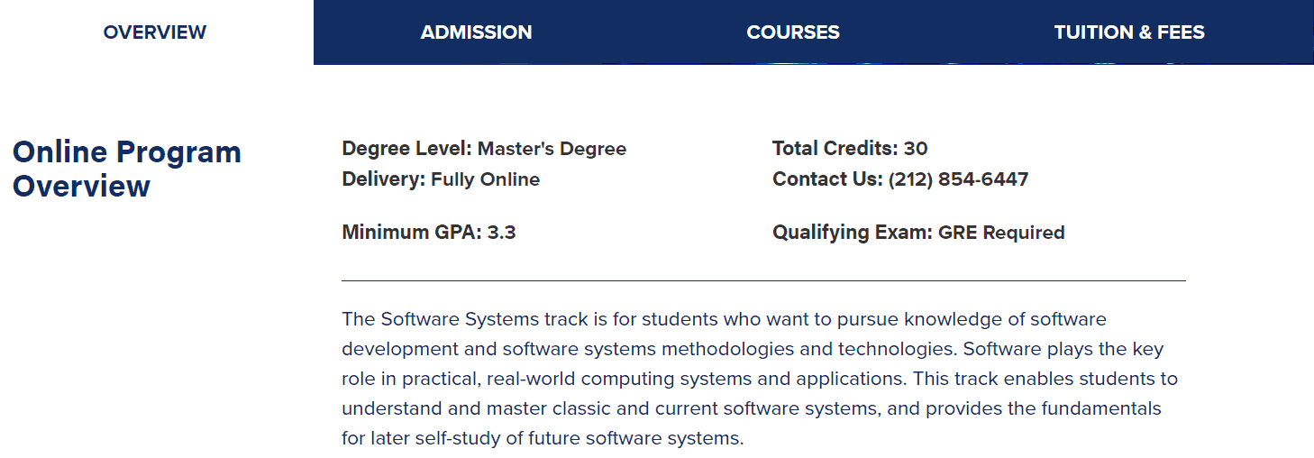 Columbia University Online master