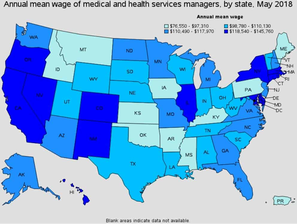 Healthcare Management Salary based on states