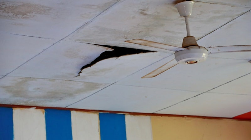 The roof of a classroom that will collapse, because it's already rotted