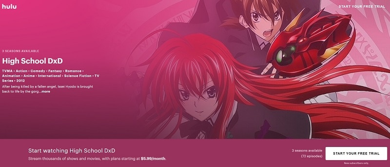 High School DxD Free Trial on Hulu